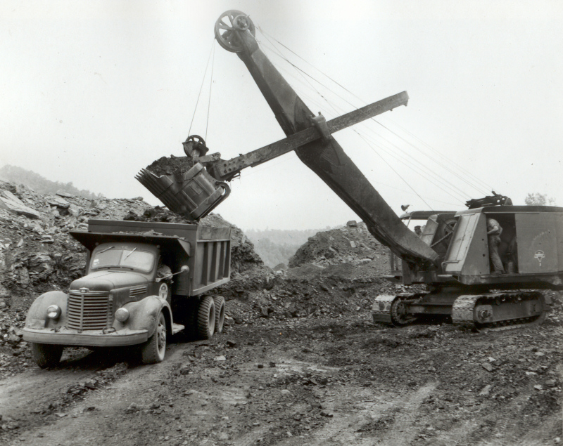 Old Link-belt shovel in Pike Co., KY on a Consol Job around 1951.